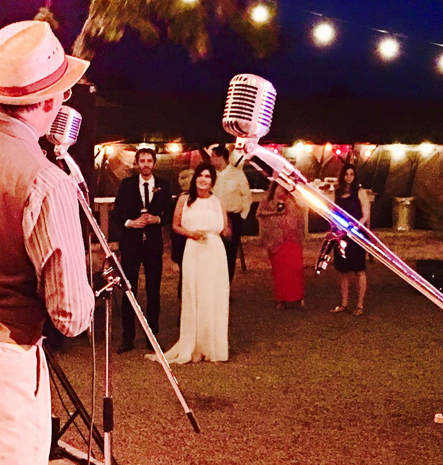 Hogan & Moss perform at a wedding, a uniquely perfect musical entertainment experience.